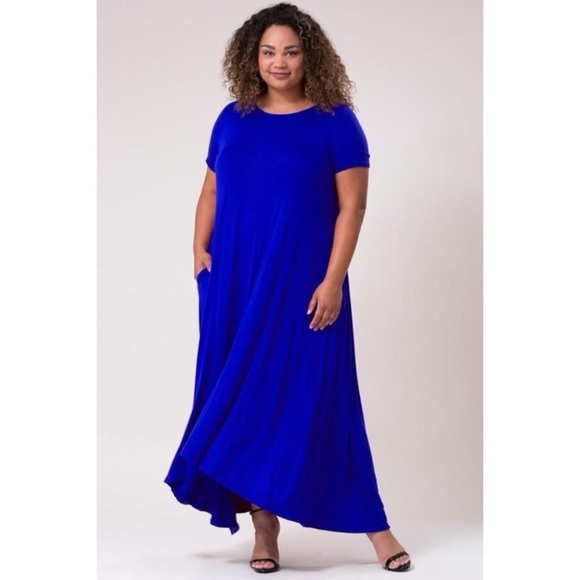 PLUS SIZE: Royal Blue Short Sleeve Maxi Dress Boutique